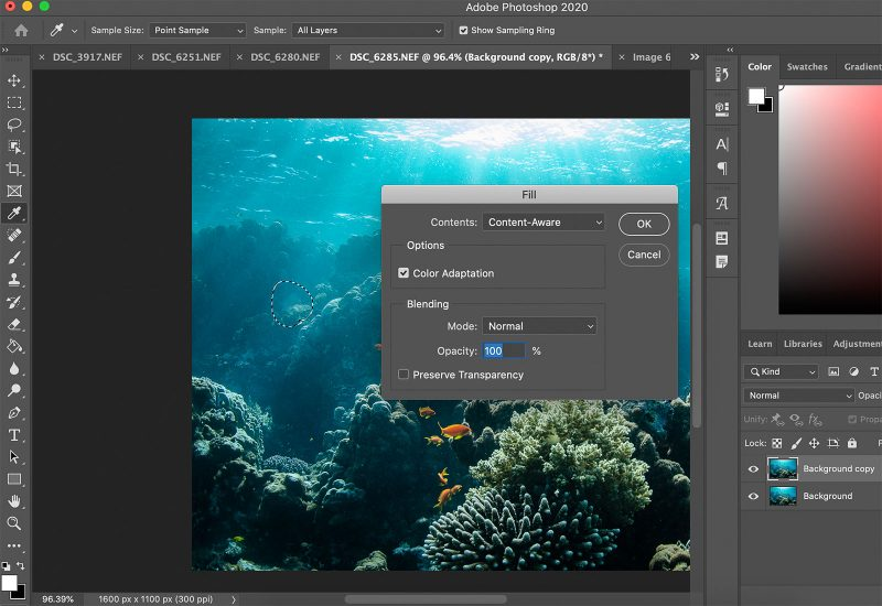 Editing underwater photo in photoshop