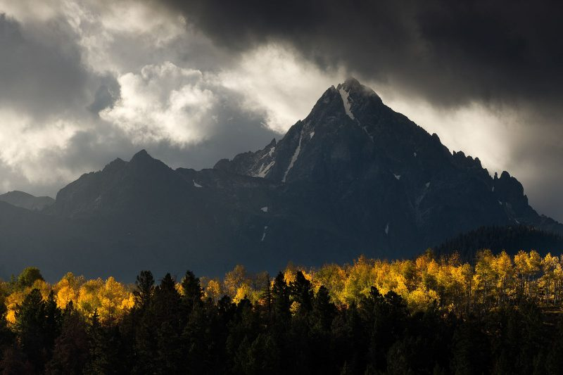 Fall landscape with mountains