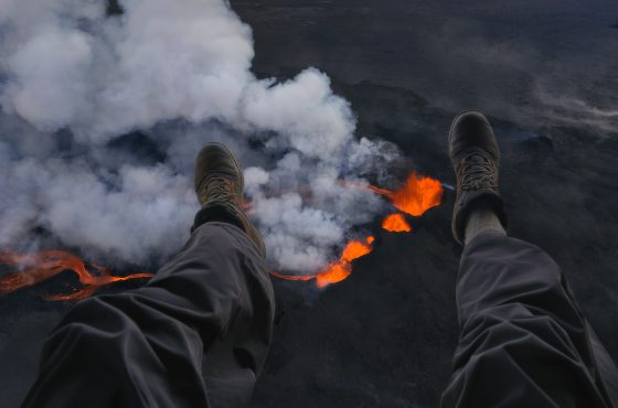 flying above lava