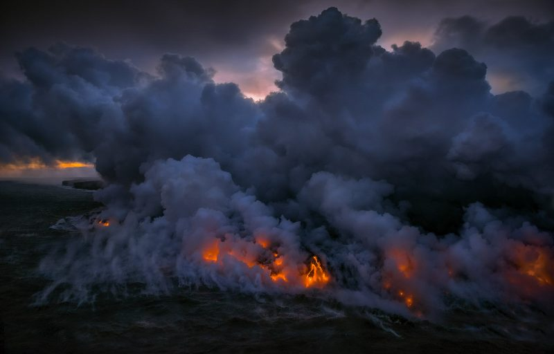 lava hitting ocean