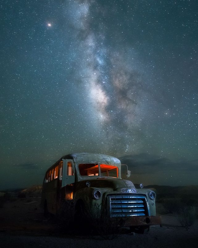 Abandoned car and milkyway