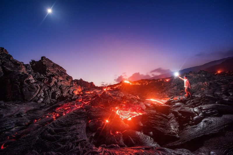 Man stands in Lava Landscape