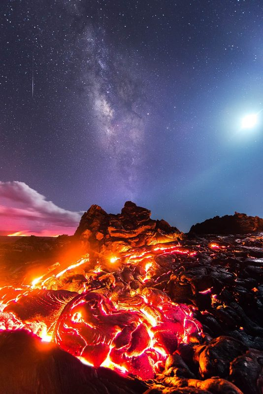 Lava landscape with the milky way