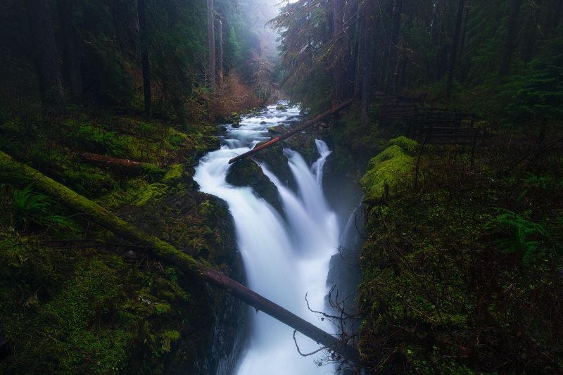 Slow shutterspeed waterfall landscape