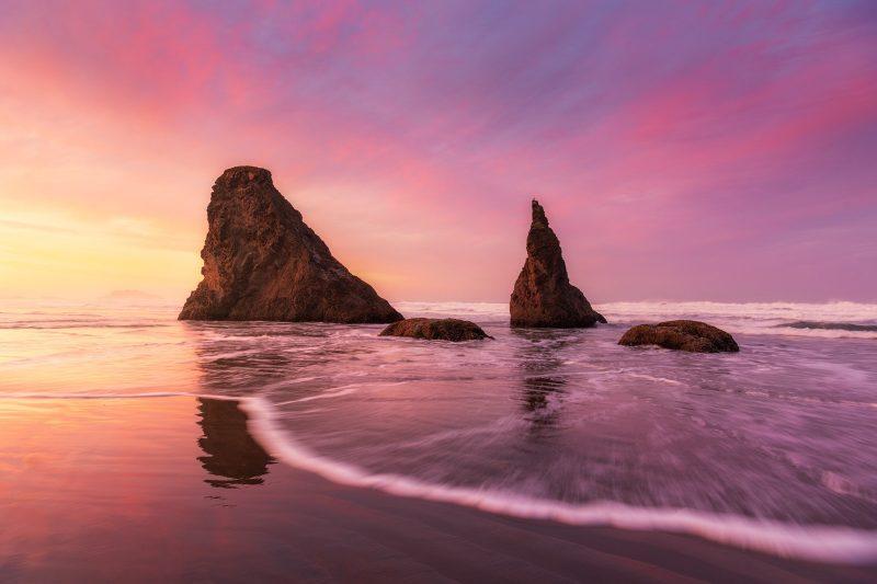 Coastal sunset landscape