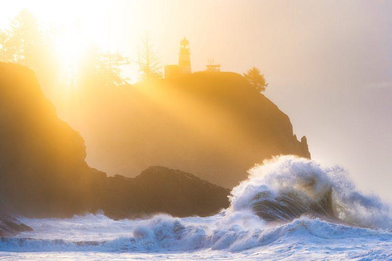 Backlit coastal landscape