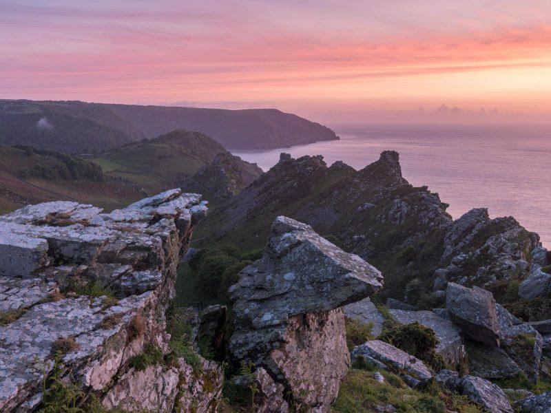 Landscape photo of valley of rocks in Devon