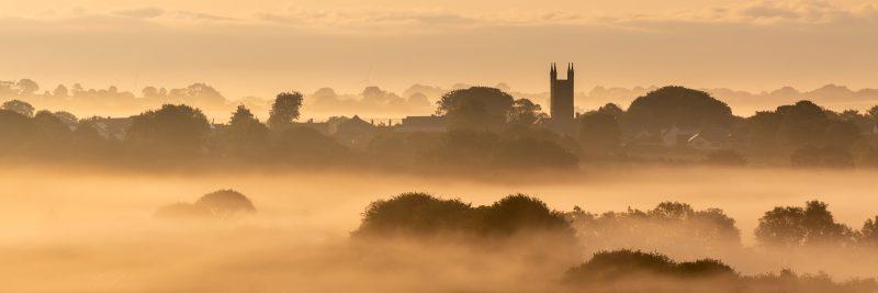 Backlit misty landscape