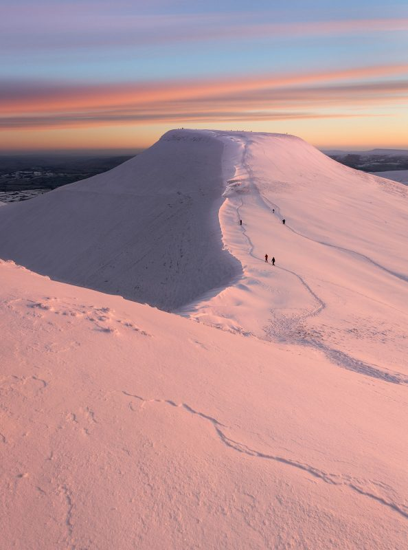 The Brecon Beacons covered in snow