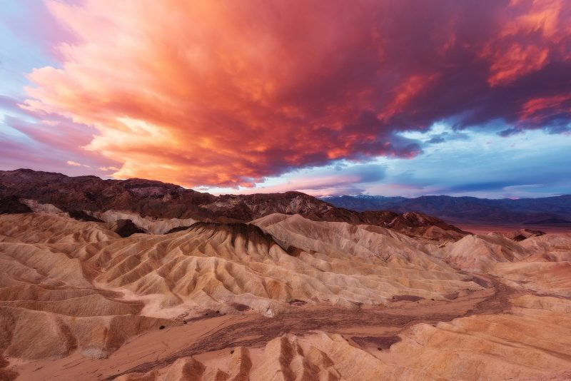 Death Valley Landscape with pink clouds