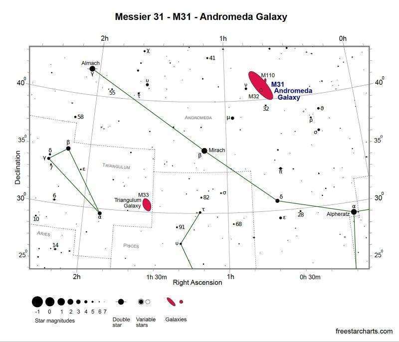 Star Map Great Andromeda Galaxy