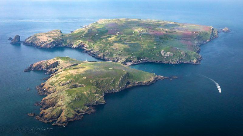 Aerial shot of Skomer Island in Wales