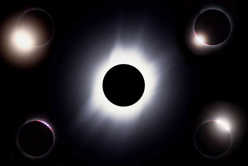 Different phases of totality during the eclipse
