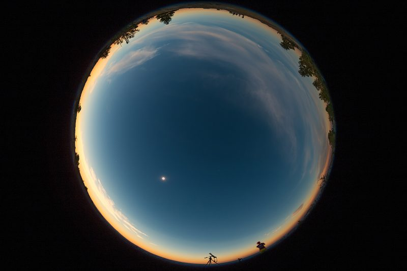 Solar eclipse photographed on a fish eye