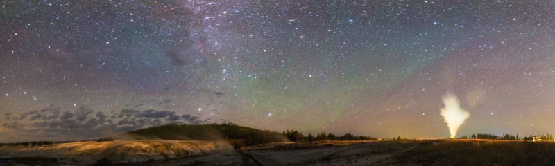A panorama of the night sky from Ursa Major to Aquarius showing colorful airglow.