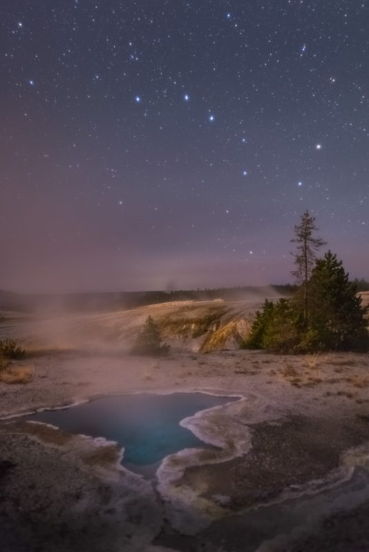 The Big Dipper above the Blue Star Spring in Yellowstone National Park