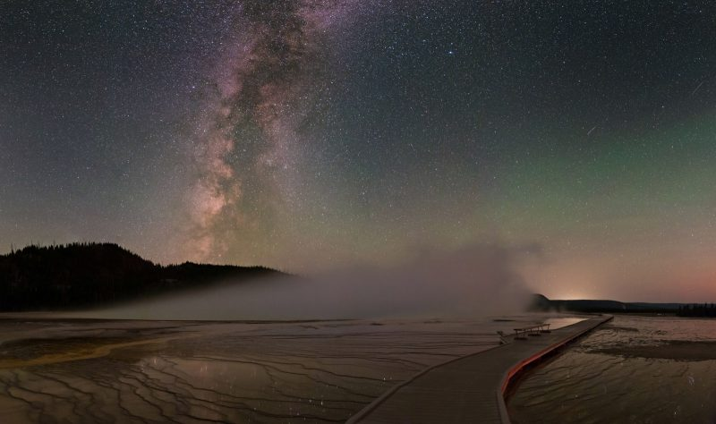 Milky way above the board walk in yellowstone national park