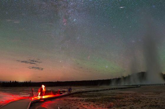 Night sky panorama and hot springs