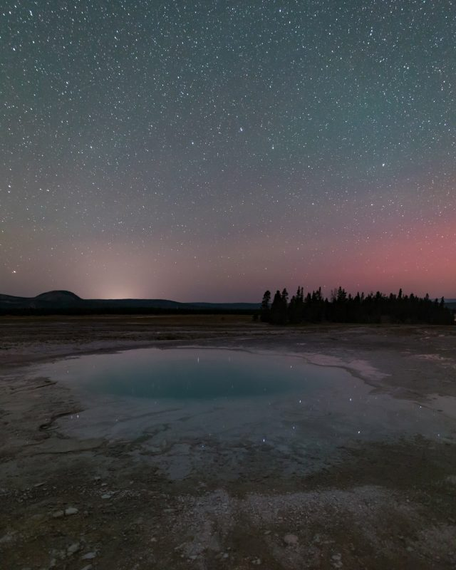 The Big Dipper above the Opal Pool in Yellowstone National Park