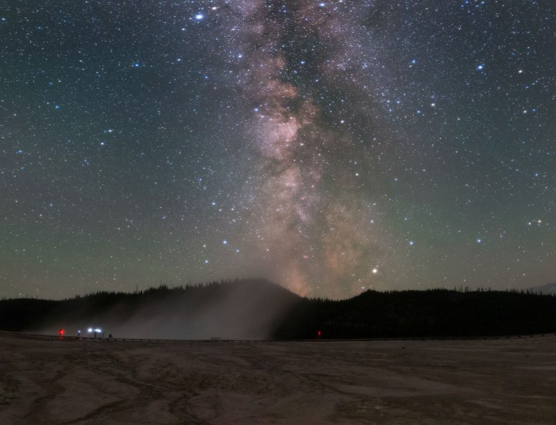 Milky Way is seen here above the famous Grand Prismatic Spring in Yellowstone National Park