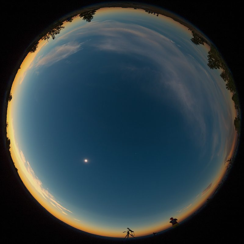 A fisheye view of the sky during the total solar eclipse