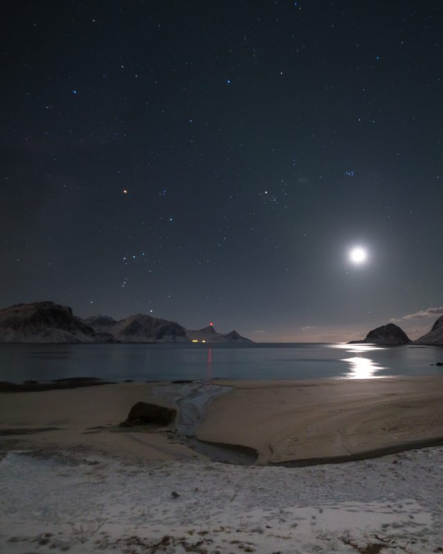 Winter stars at Haukland, in Lofoten. It's easy to spot the constellation of Orion, right above the mountains to the left of the center of the frame.