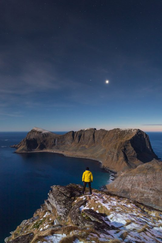 A conjunction between planets Venus and Mars above the island of Værøy, Lofoten.
