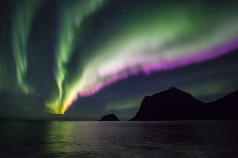 Colourful Aurora at Vik.