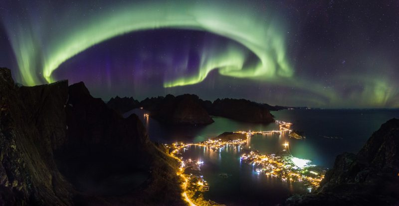 Panorama of northern lights